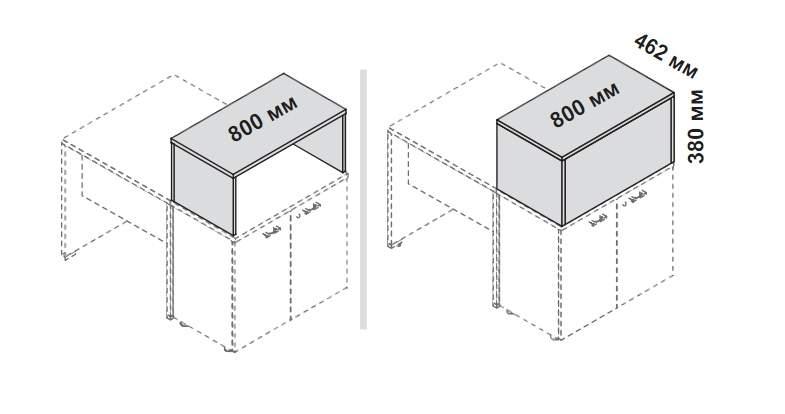Верхняя полка для приставных шкафов 800x442x380