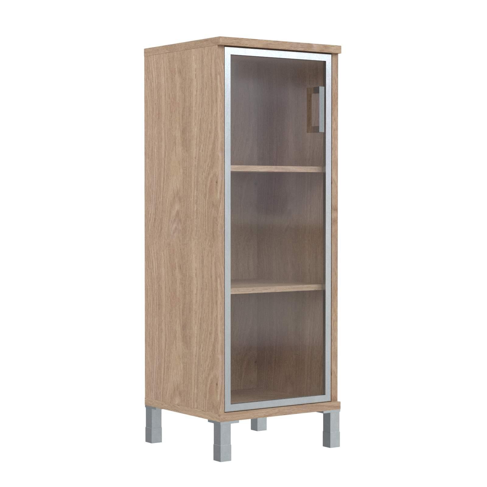 Шкаф колонка средняя со стеклянной дверью в алюм. рамке левая 475х435х1236