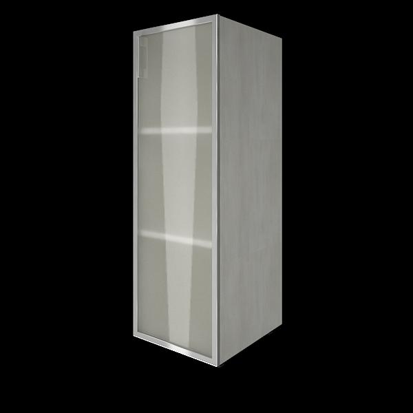 Стеллаж средний узкий правый со стеклянными дверями в алюминиевой рамке 400x450x1195