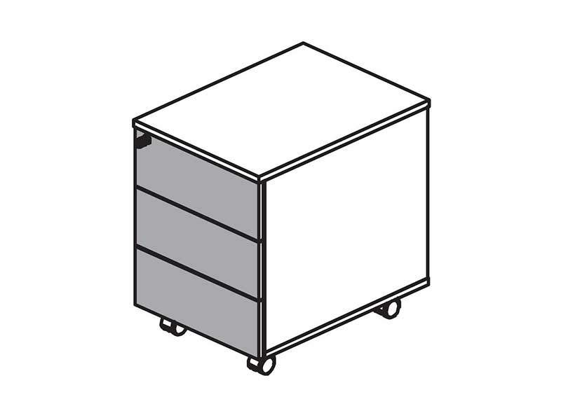 UNI Тумба 3 ящика, металл 430x530x520