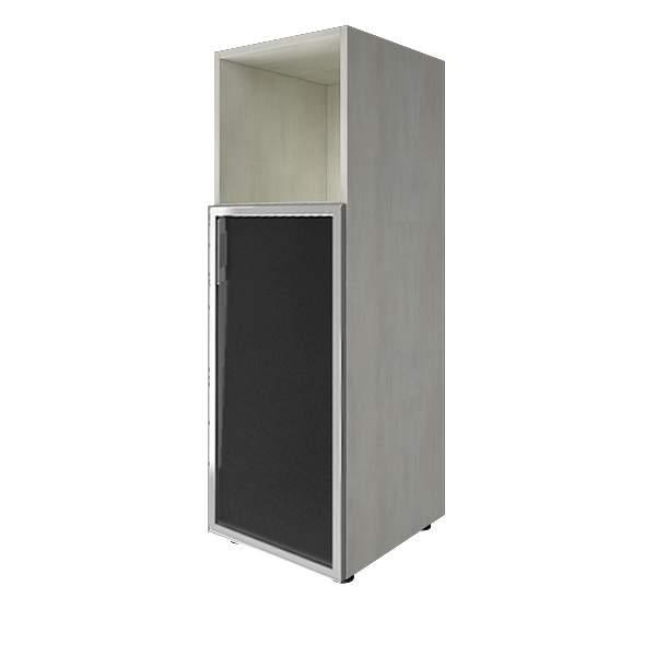 Стеллаж средний узкий правый со стеклянными дверцами лакобель (white, black)400x450x1195