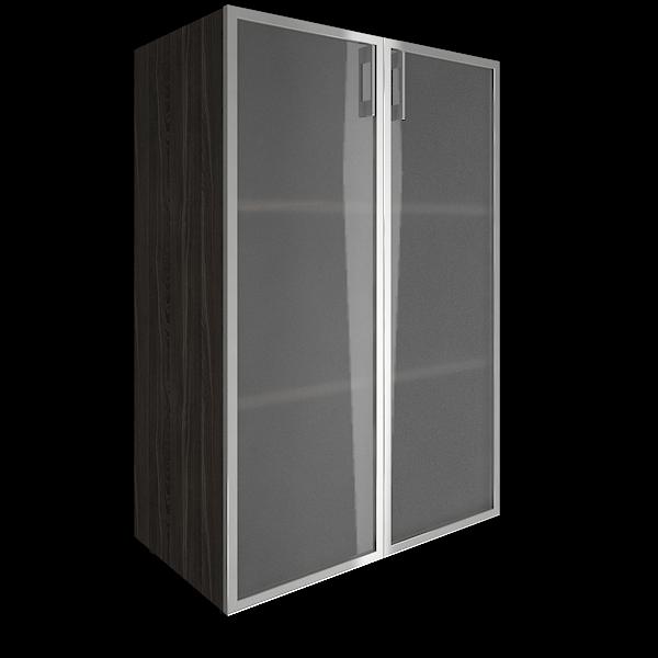 Стеллаж средний закрытый со стеклянными дверями в алюминиевой раме 800x450x1195