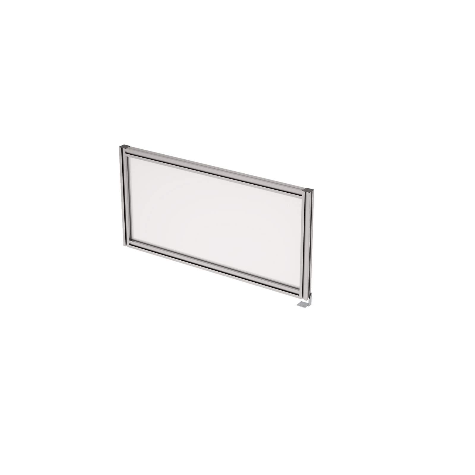 Барьер боковой в алюминиевом профиле, вставка стекло матовое 800х400х29