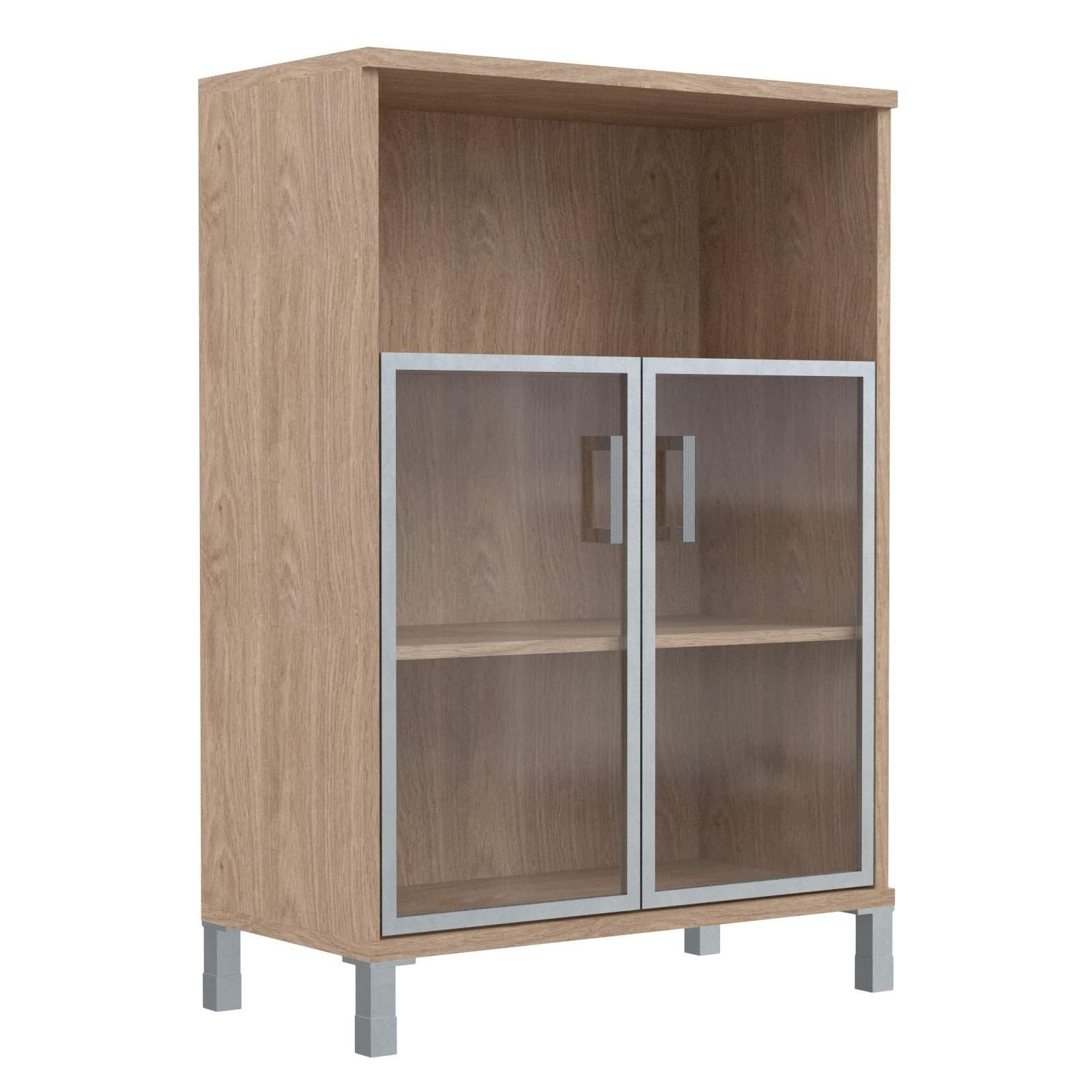 Шкаф средний с малыми стеклянными дверьми в алюм. рамке 900х435х1236