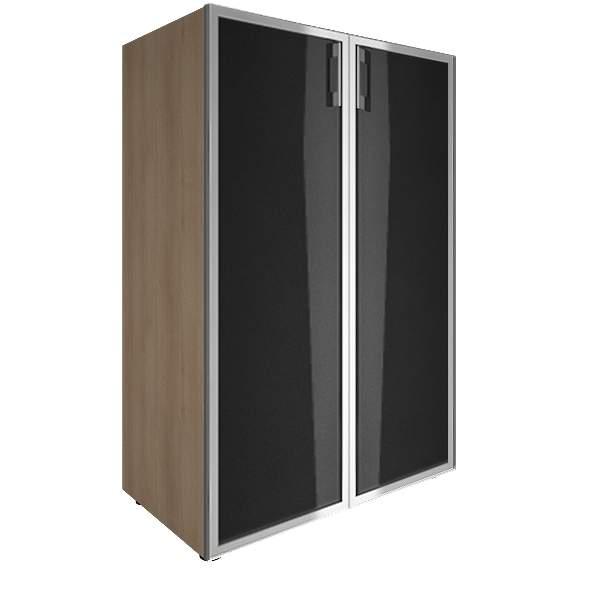 Стеллаж средний закрытый со стеклянными дверями лакобель (white, black) 800x450x1195