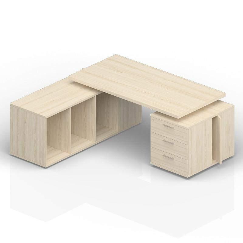 Стол на опорной тумбе 3 ящика и опорной сервисной тумбе (левый) 1800(+300/450/600)х1800х735
