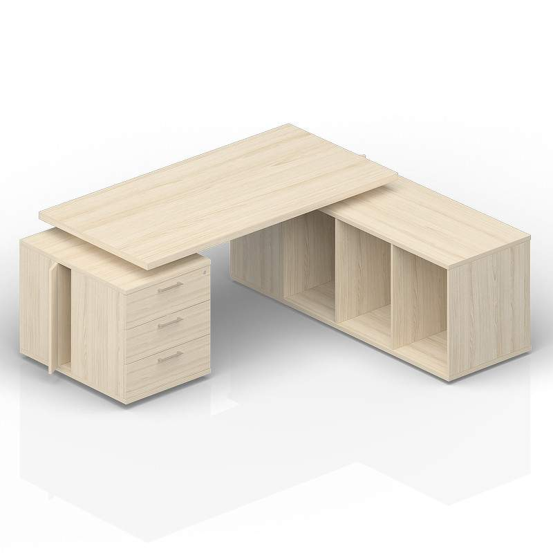 Стол на опорной тумбе 3 ящика и опорной сервисной тумбе (правый) 2000(+300/450/600)х1800х735