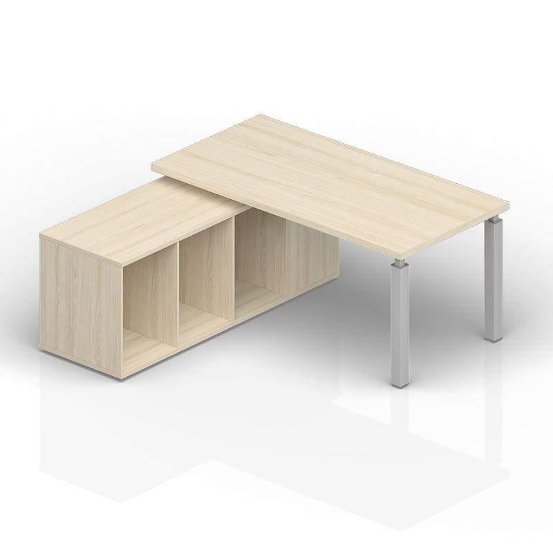 Стол на опорной сервисной тумбе (левый) 1800(+0/150/300)х1800х735см