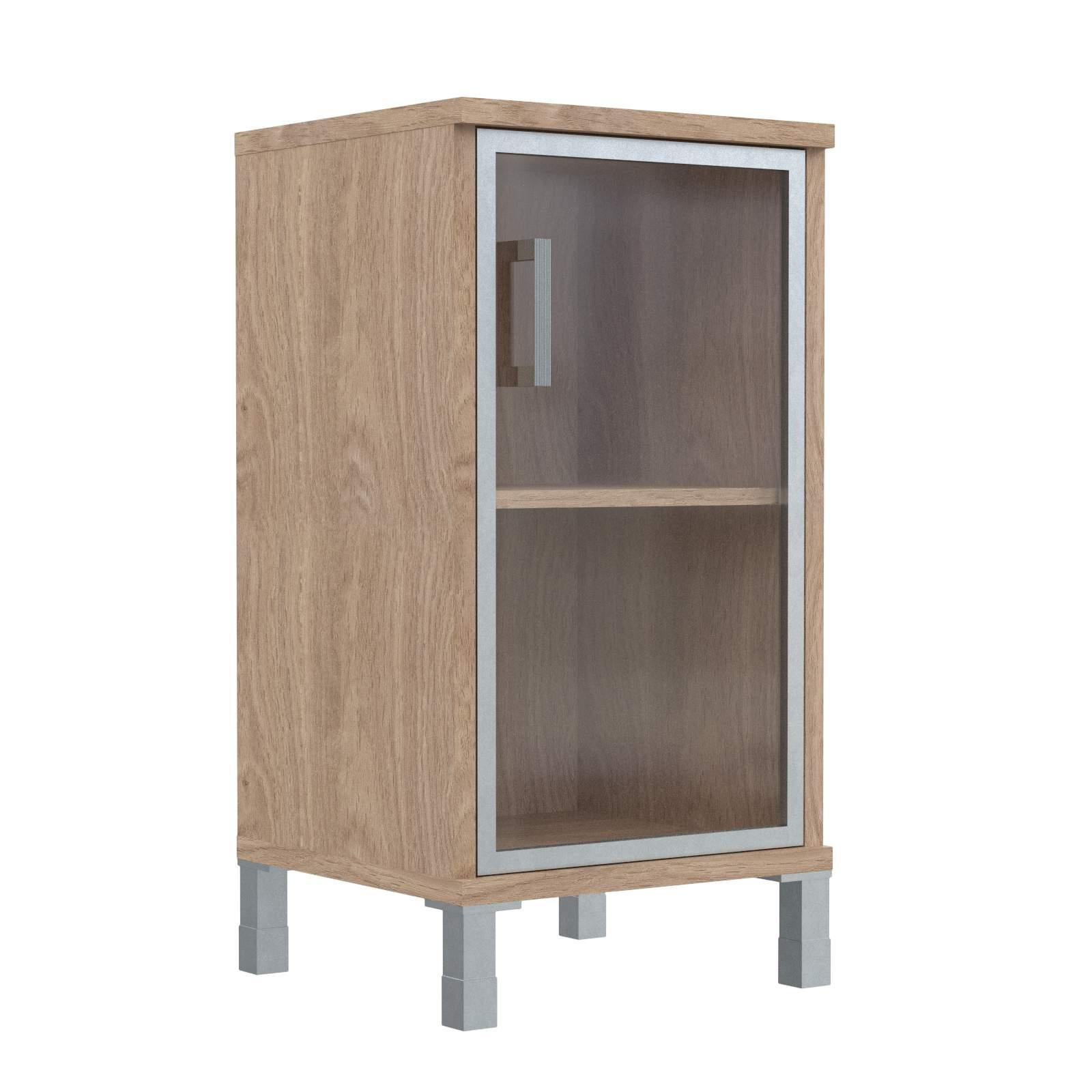 Шкаф колонка низкая со стеклянной дверью в алюм. рамке правая 475х435х870