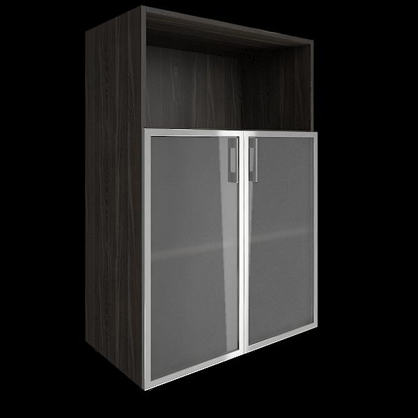 Стеллаж средний широкий со стеклом в алюминиевой раме  800x450x1195