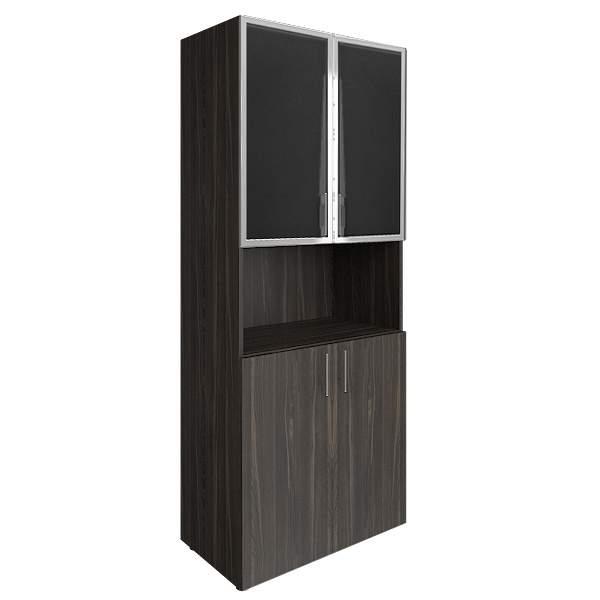 Шкаф высокий комбинированный со стеклом лакобель (white, black) 800x450x1990