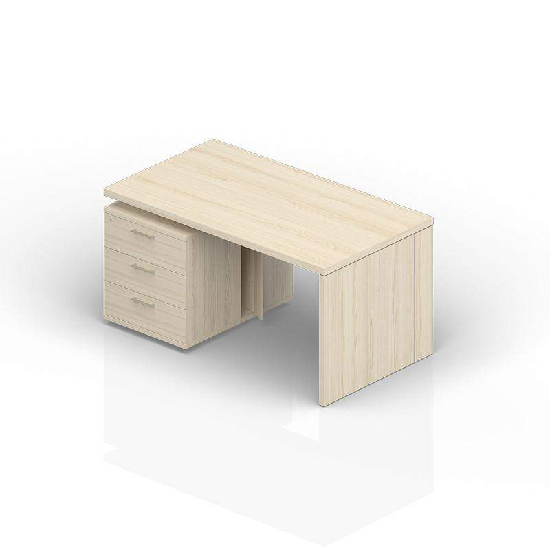 Стол на опорной тумбе 3 ящика (левый) 2000(+0/150/300)х900х735