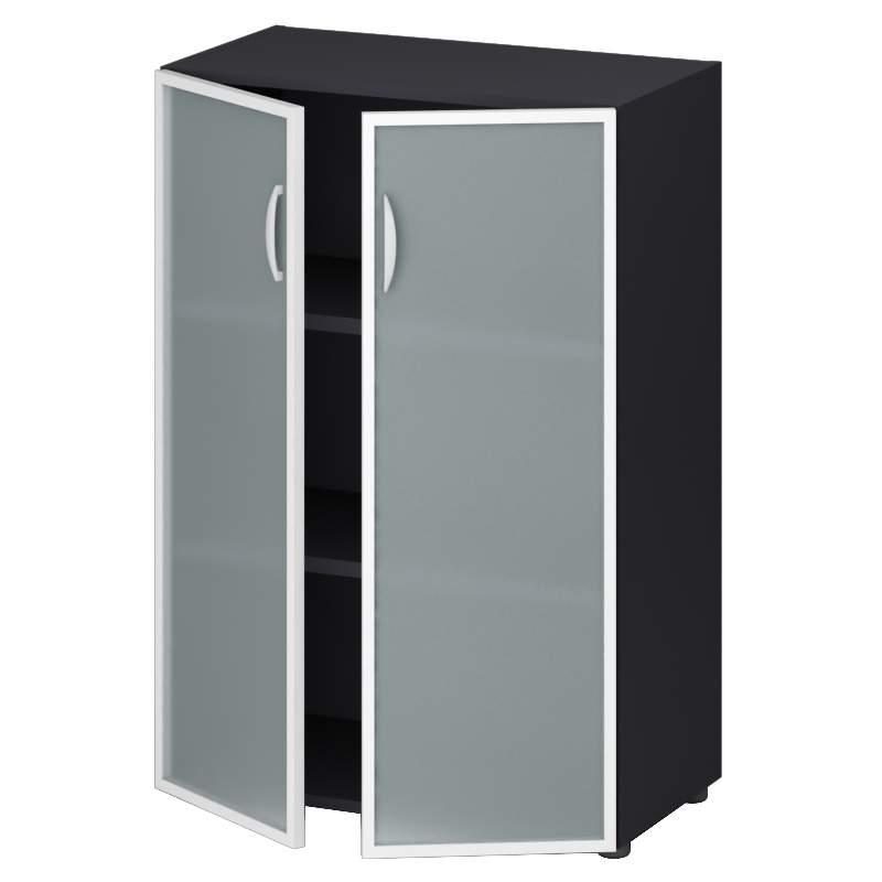 Шкаф средний закрытый со стеклом 800х400х1180