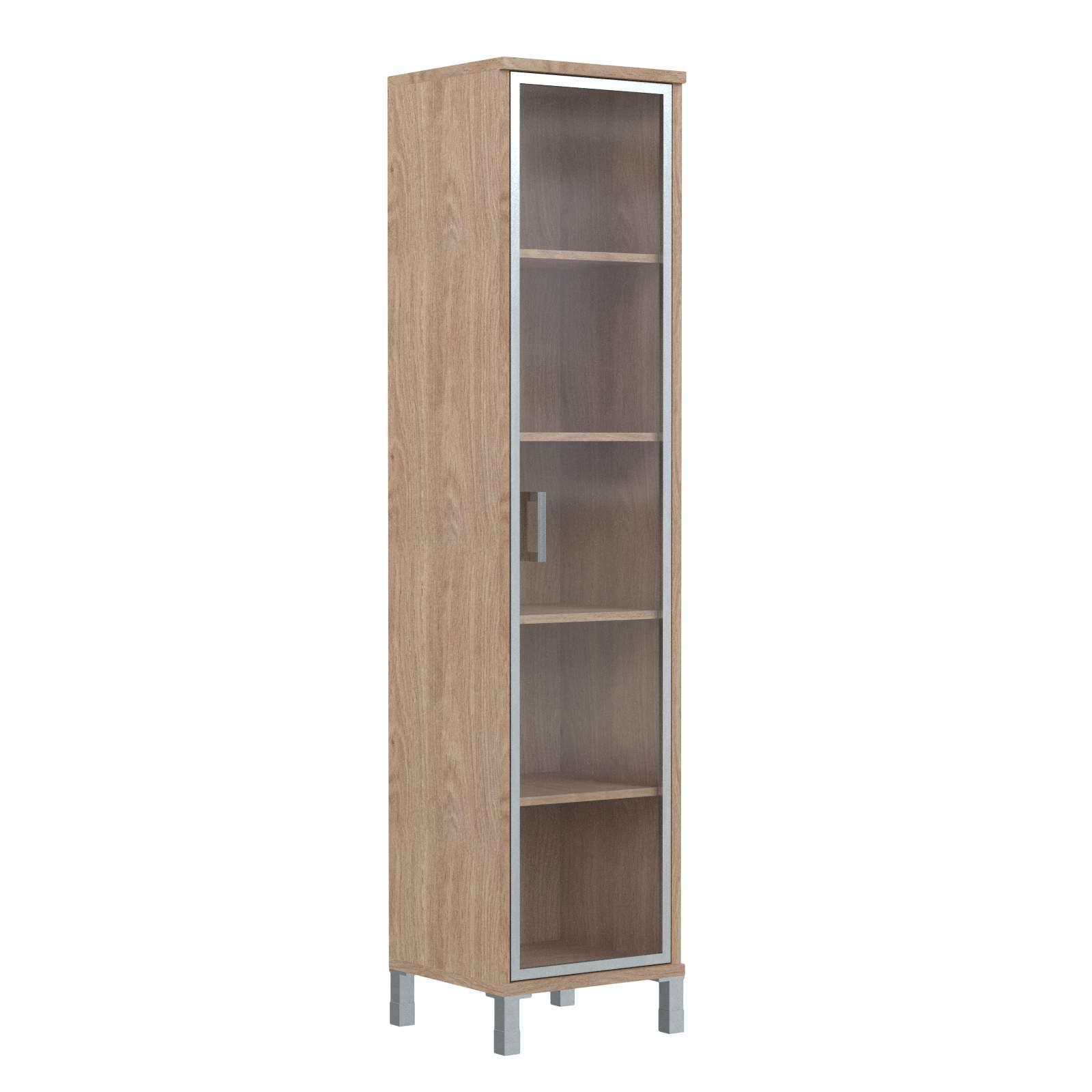Шкаф колонка высокая со стеклянной дверью в алюм. рамке правая 475х435х2004