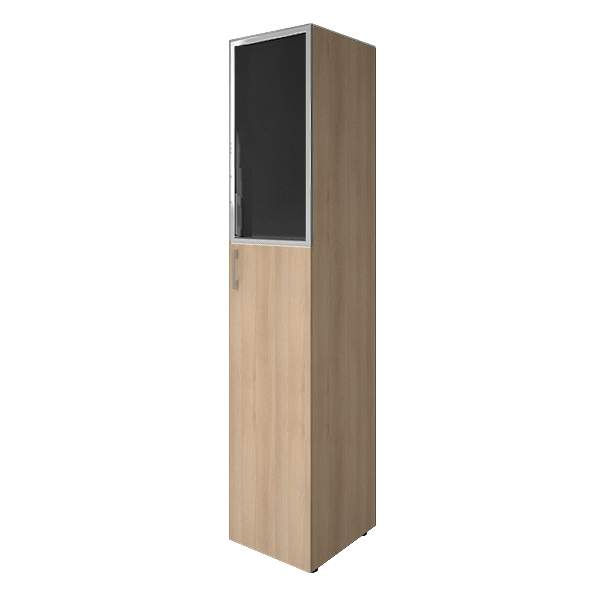 Шкаф высокий узкий комбинированный со стеклом лакобель (white, black) 400x450x1990