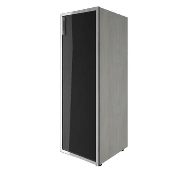 Стеллаж средний узкий правый со стеклянными дверями лакобель (white, black) 400x450x1195
